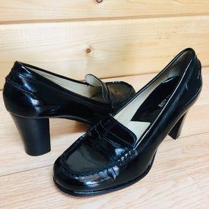 Michael Kors Black penny Loafer Heels shoes Sz 7 M